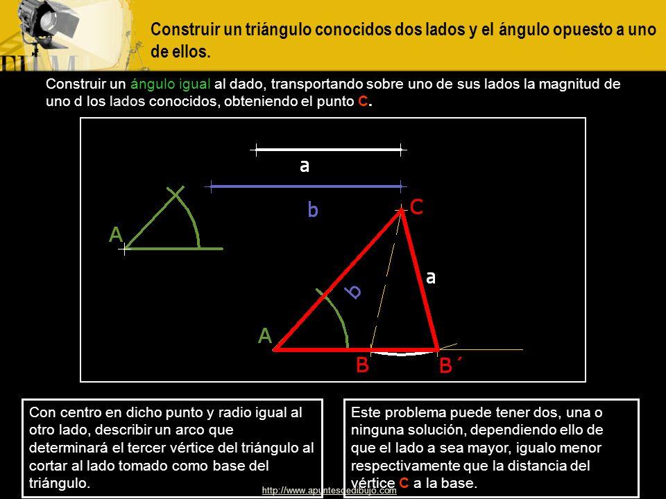 http://www.apuntesdedibujo.com Construir un triángulo conociendo un lado y los ángulos adyacentes al mismo Situar el lado dado como base del triángulo