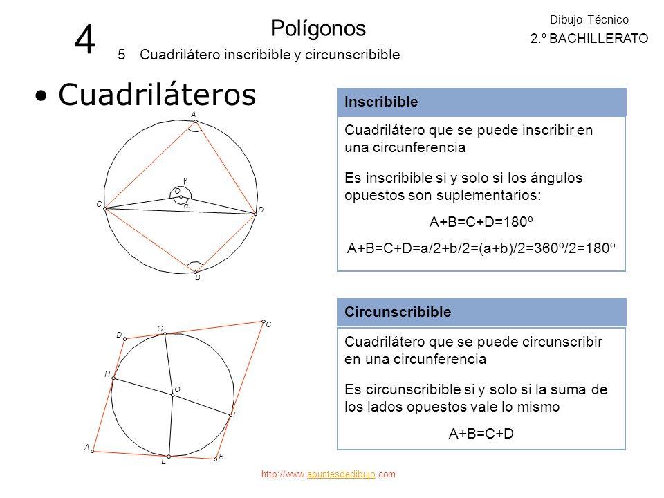 http://www.apuntesdedibujo.comapuntesdedibujo CUADRILÁTERO INSCRIBIBLE Se llama así al cuadrilátero que se puede inscribir en una circunferencia. En u