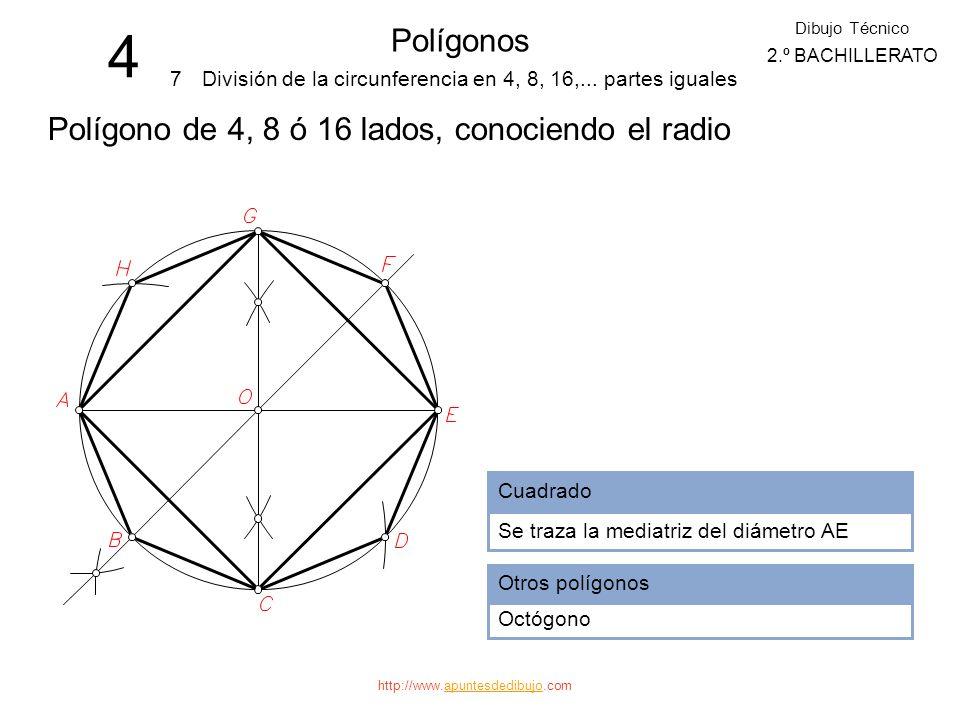 http://www.apuntesdedibujo.comapuntesdedibujo 4 Polígonos 6 Dibujo Técnico 2.º BACHILLERATO División de la circunferencia en 3, 6, 12,... partes igual