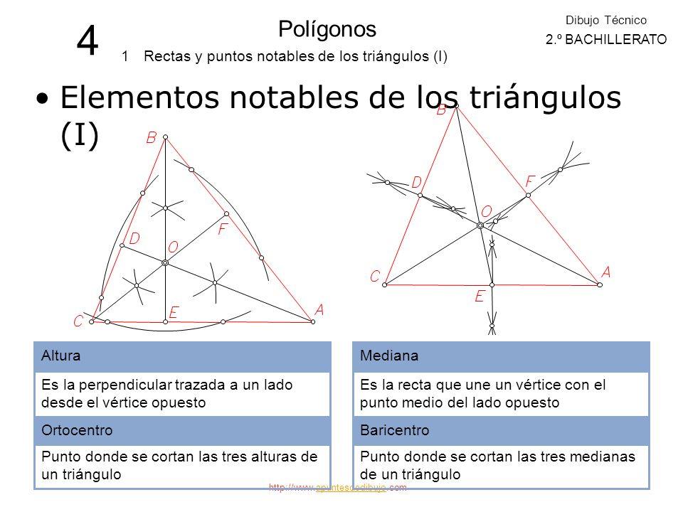 http://www.apuntesdedibujo.comapuntesdedibujo 4 Polígonos 1 Dibujo Técnico 2.º BACHILLERATO Rectas y puntos notables de los triángulos (I) Elementos notables de los triángulos (I) Altura Es la perpendicular trazada a un lado desde el vértice opuesto Ortocentro Punto donde se cortan las tres alturas de un triángulo Mediana Es la recta que une un vértice con el punto medio del lado opuesto Baricentro Punto donde se cortan las tres medianas de un triángulo