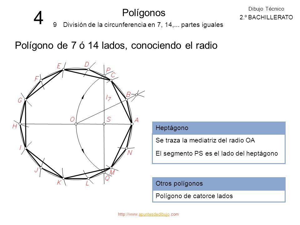 http://www.apuntesdedibujo.comapuntesdedibujo 4 Polígonos 8 Dibujo Técnico 2.º BACHILLERATO División de la circunferencia en 5, 10,... partes iguales