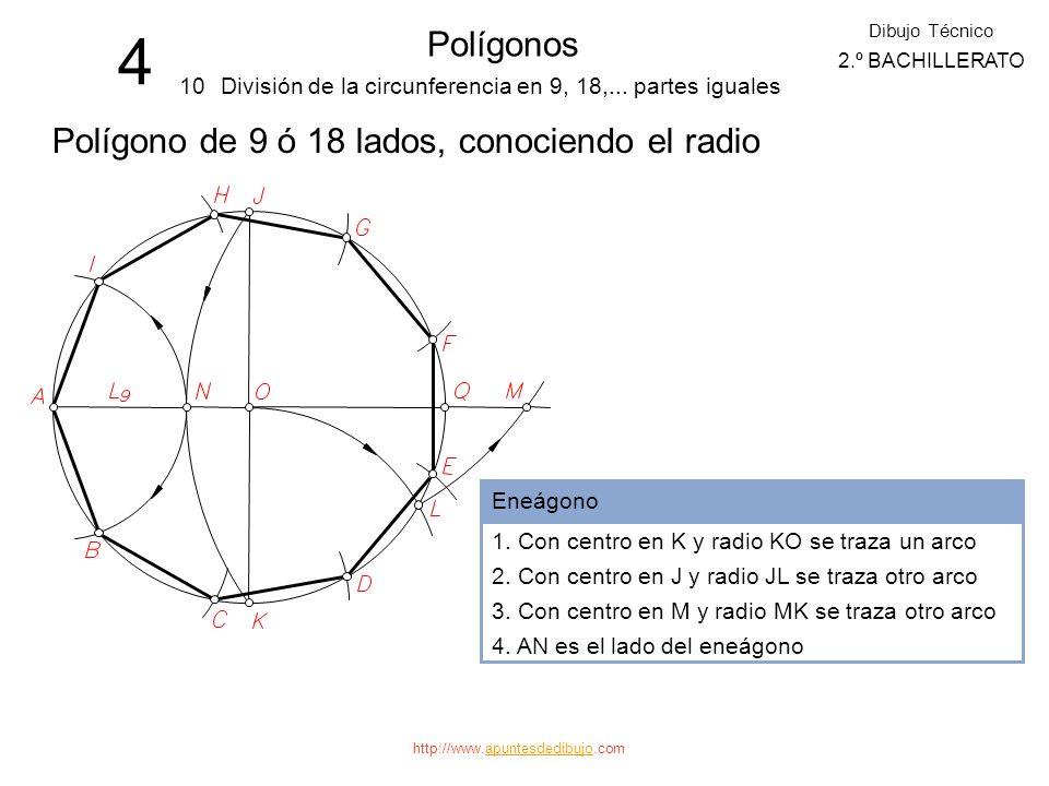 http://www.apuntesdedibujo.comapuntesdedibujo 4 Polígonos 9 Dibujo Técnico 2.º BACHILLERATO División de la circunferencia en 7, 14,... partes iguales