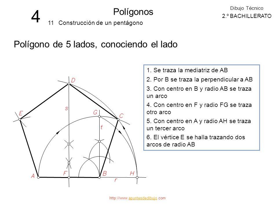 http://www.apuntesdedibujo.comapuntesdedibujo 4 Polígonos 10 Dibujo Técnico 2.º BACHILLERATO División de la circunferencia en 9, 18,... partes iguales