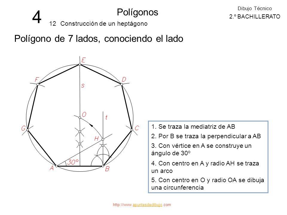 http://www.apuntesdedibujo.comapuntesdedibujo 4 Polígonos 11 Dibujo Técnico 2.º BACHILLERATO Construcción de un pentágono Polígono de 5 lados, conocie