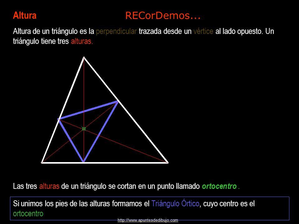 http://www.apuntesdedibujo.com Altura Altura de un triángulo es la perpendicular trazada desde un vértice al lado opuesto.