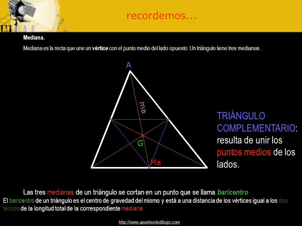http://www.apuntesdedibujo.com Altura Altura de un triángulo es la perpendicular trazada desde un vértice al lado opuesto. Un triángulo tiene tres alt