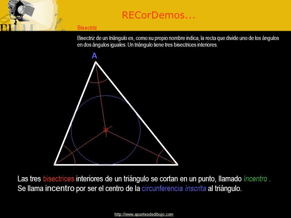 http://www.apuntesdedibujo.com Bisectriz Bisectriz de un triángulo es, como su propio nombre indica, la recta que divide uno de los ángulos en dos ángulos iguales.