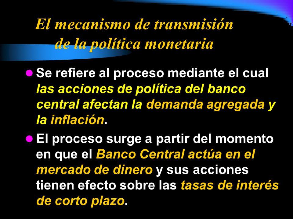 El mecanismo de transmisión de la política monetaria Se refiere al proceso mediante el cual las acciones de política del banco central afectan la dema
