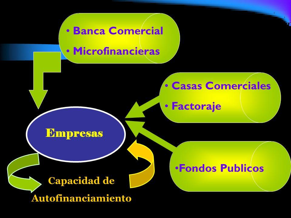 Empresas Capacidad de Autofinanciamiento Banca Comercial Microfinancieras Casas Comerciales Factoraje Fondos Publicos