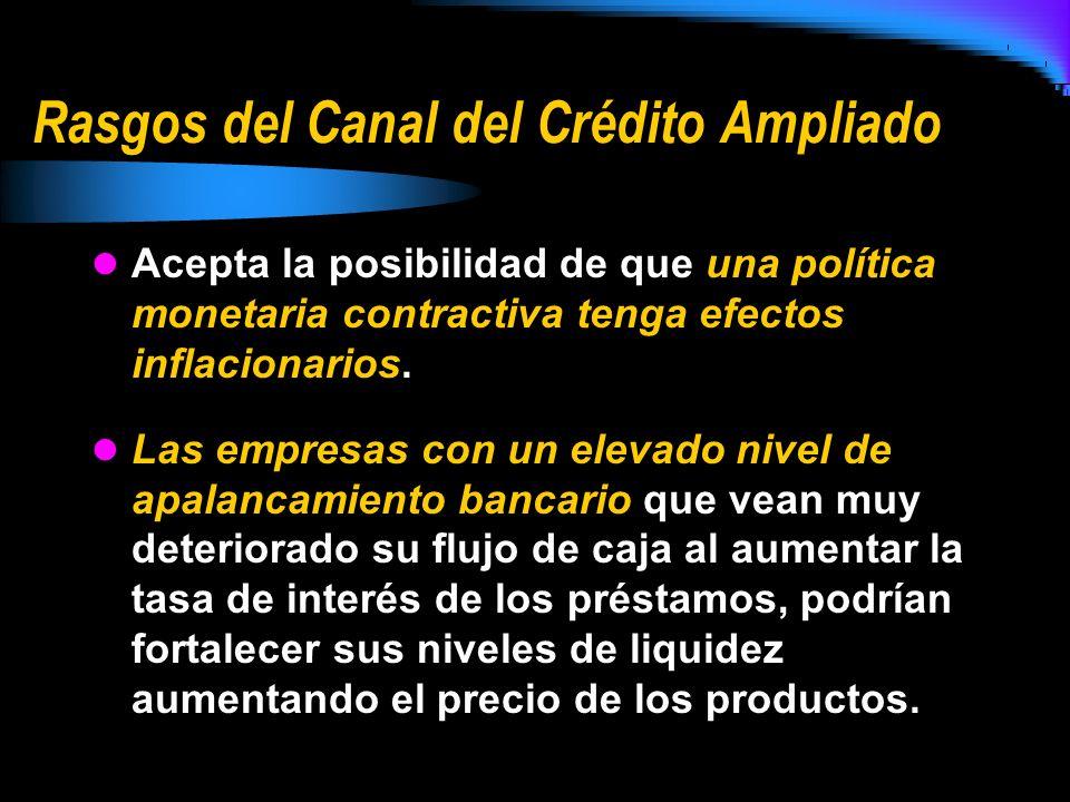 Rasgos del Canal del Crédito Ampliado Acepta la posibilidad de que una política monetaria contractiva tenga efectos inflacionarios. Las empresas con u