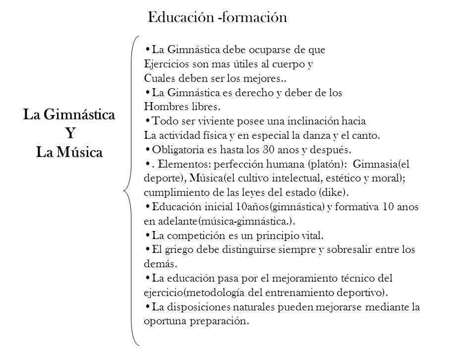 La Gimnástica Y La Música Educación -formación La Gimnástica debe ocuparse de que Ejercicios son mas útiles al cuerpo y Cuales deben ser los mejores..