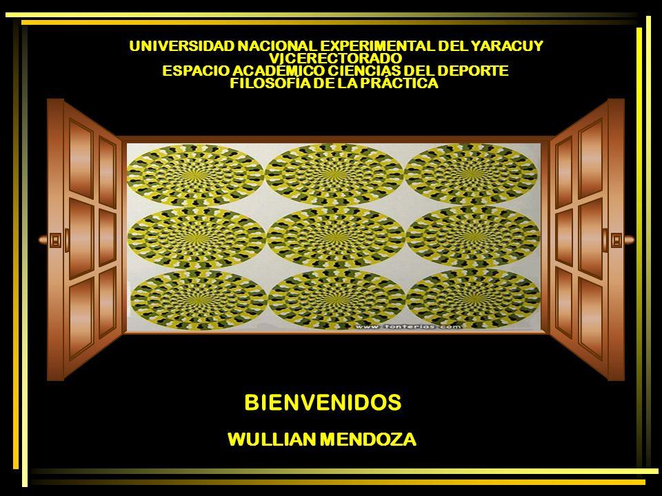 WULLIAN MENDOZA BIENVENIDOS UNIVERSIDAD NACIONAL EXPERIMENTAL DEL YARACUY VICERECTORADO ESPACIO ACADÉMICO CIENCIAS DEL DEPORTE FILOSOFÍA DE LA PRÁCTIC