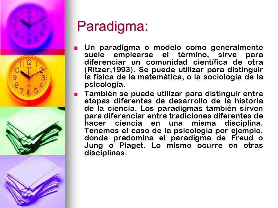 Paradigma: Un paradigma o modelo como generalmente suele emplearse el término, sirve para diferenciar un comunidad científica de otra (Ritzer,1993). S