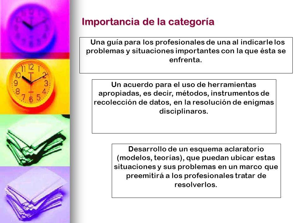 Importancia de la categoría Una guía para los profesionales de una al indicarle los problemas y situaciones importantes con la que ésta se enfrenta. U