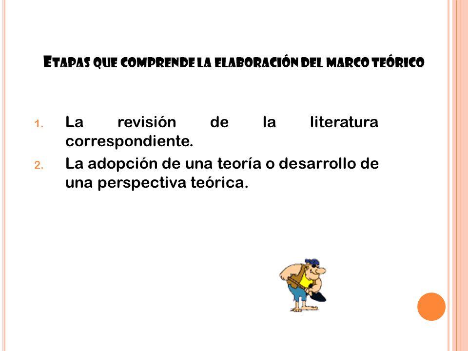 12 E TAPAS QUE COMPRENDE LA ELABORACIÓN DEL MARCO TEÓRICO 1. La revisión de la literatura correspondiente. 2. La adopción de una teoría o desarrollo d