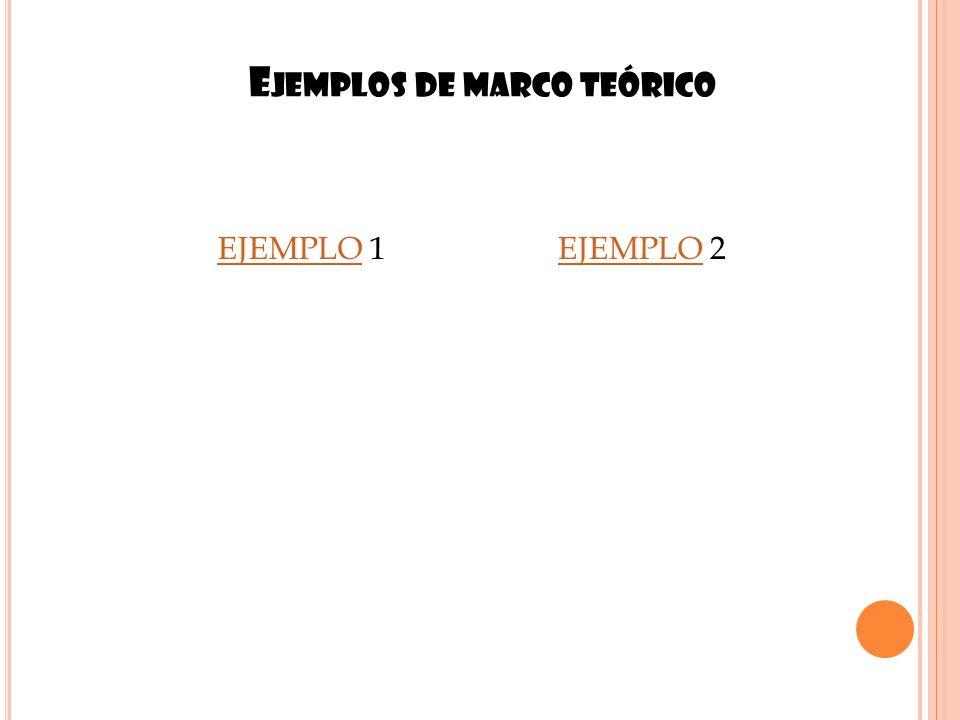 E JEMPLOS DE MARCO TEÓRICO 13 EJEMPLOEJEMPLO 1EJEMPLOEJEMPLO 2