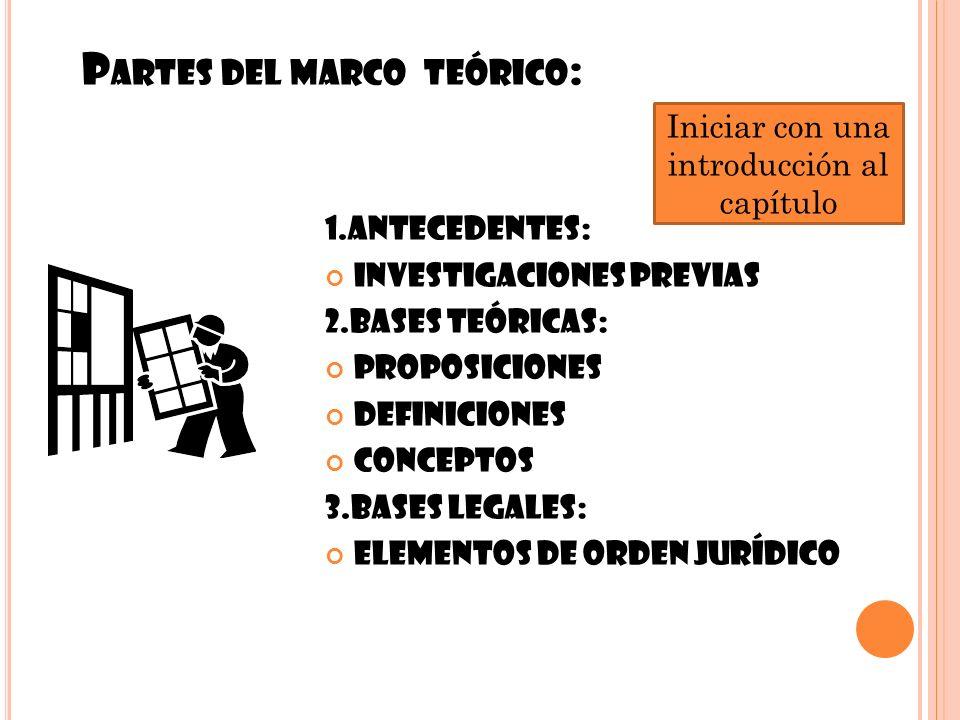 P ARTES DEL MARCO TEÓRICO : 7 1.ANTECEDENTES: Investigaciones previas 2.BASES TEÓRICAS: Proposiciones Definiciones Conceptos 3.BASES LEGALES: Elemento