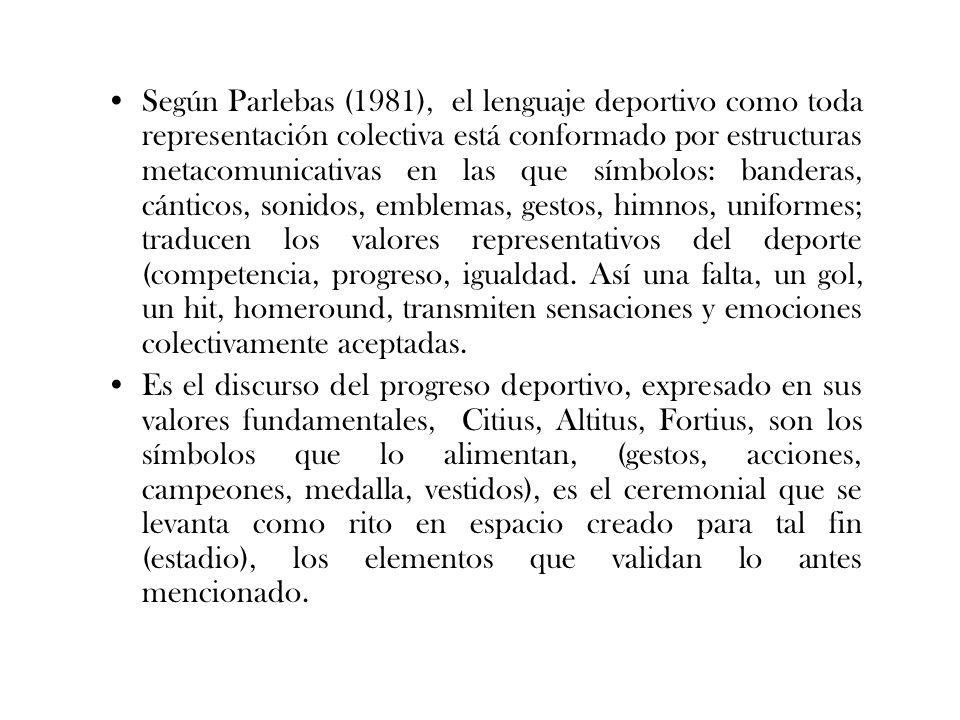 Según Parlebas (1981), el lenguaje deportivo como toda representación colectiva está conformado por estructuras metacomunicativas en las que símbolos:
