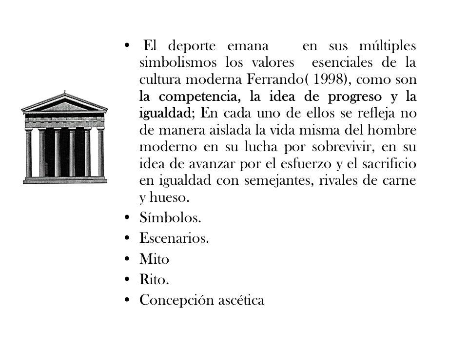 El deporte emana en sus múltiples simbolismos los valores esenciales de la cultura moderna Ferrando( 1998), como son la competencia, la idea de progre