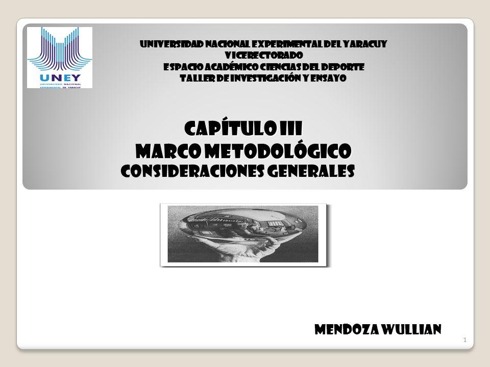 1 CAPÍTULO III MARCO METODOLÓGICO Consideraciones Generales 1 Mendoza Wullian UNIVERSIDAD NACIONAL EXPERIMENTAL DEL YARACUY VICERECTORADO ESPACIO ACAD
