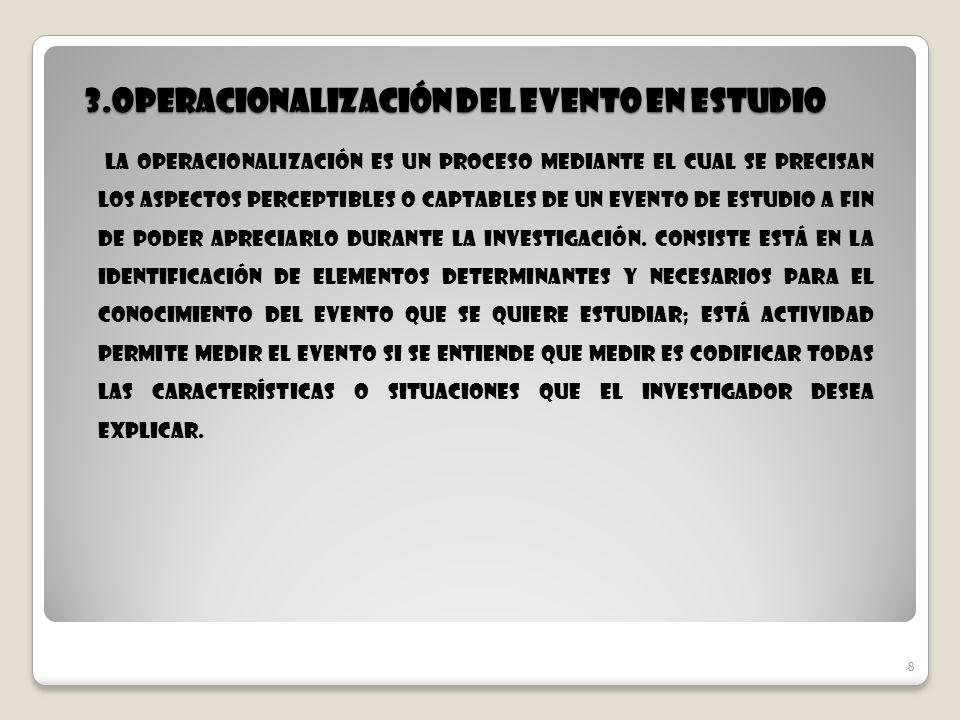 8 3.Operacionalización del evento en estudio 8 La Operacionalización es un proceso mediante el cual se precisan los aspectos perceptibles o captables
