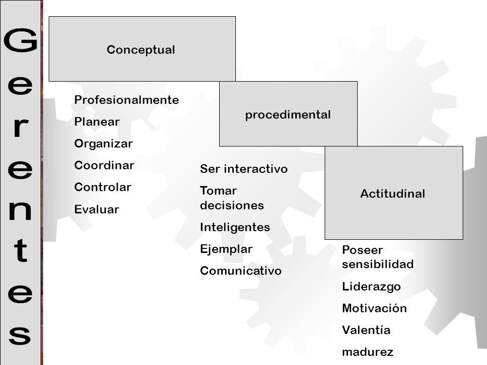 Conceptual procedimental Actitudinal Profesionalmente Planear Organizar Coordinar Controlar Evaluar Poseer sensibilidad Liderazgo Motivación Valentía