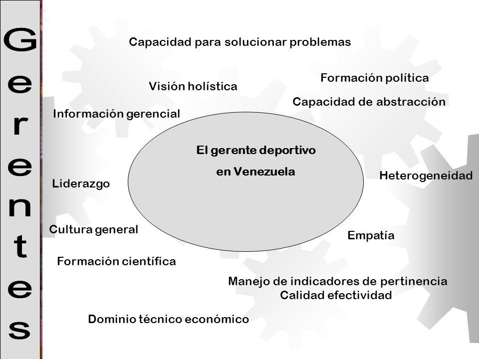 Visión holística Capacidad de abstracción Formación científica Manejo de indicadores de pertinencia Calidad efectividad El gerente deportivo en Venezu
