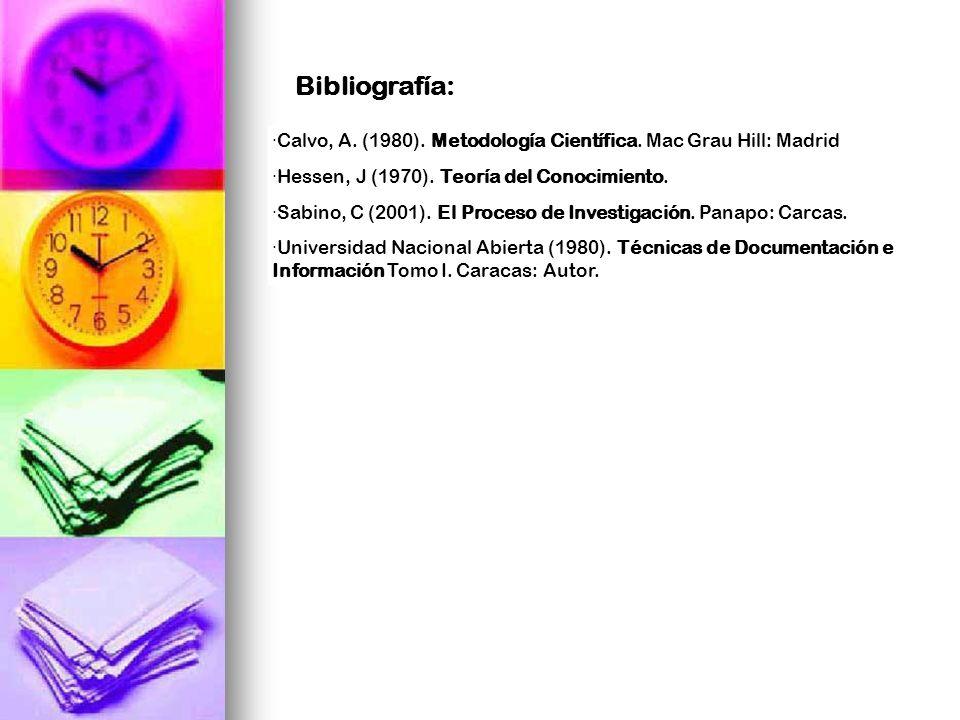 ·Calvo, A. (1980). Metodología Científica. Mac Grau Hill: Madrid ·Hessen, J (1970). Teoría del Conocimiento. ·Sabino, C (2001). El Proceso de Investig