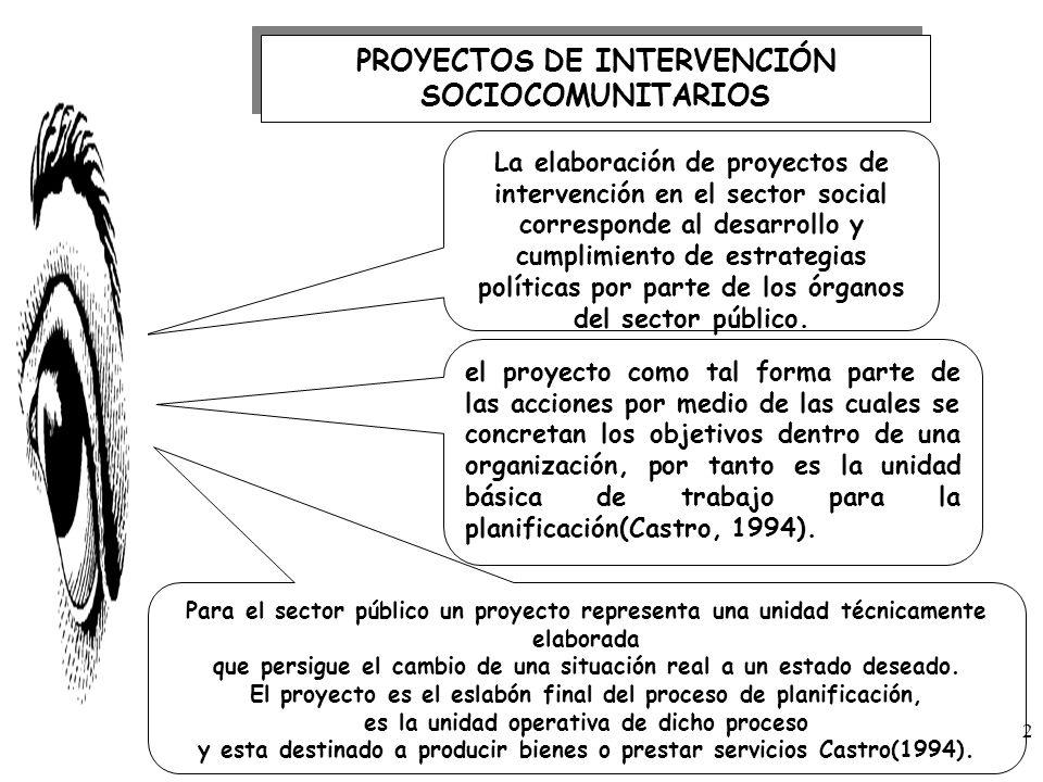 PROYECTOS DE INTERVENCIÓN SOCIOCOMUNITARIOS La elaboración de proyectos de intervención en el sector social corresponde al desarrollo y cumplimiento d