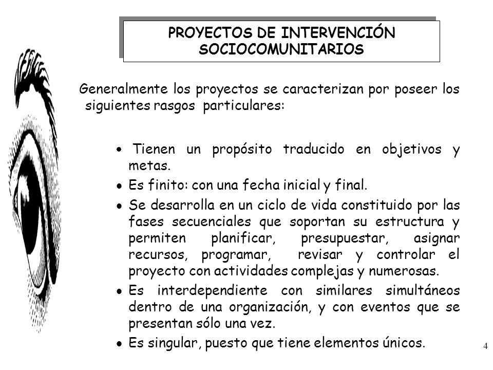 Generalmente los proyectos se caracterizan por poseer los siguientes rasgos particulares: Tienen un propósito traducido en objetivos y metas. Es finit