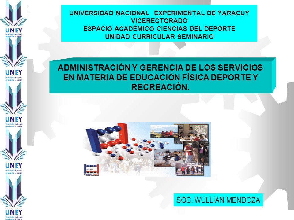 UNIVERSIDAD NACIONAL EXPERIMENTAL DE YARACUY VICERECTORADO ESPACIO ACADÉMICO CIENCIAS DEL DEPORTE UNIDAD CURRICULAR SEMINARIO ADMINISTRACIÓN Y GERENCI