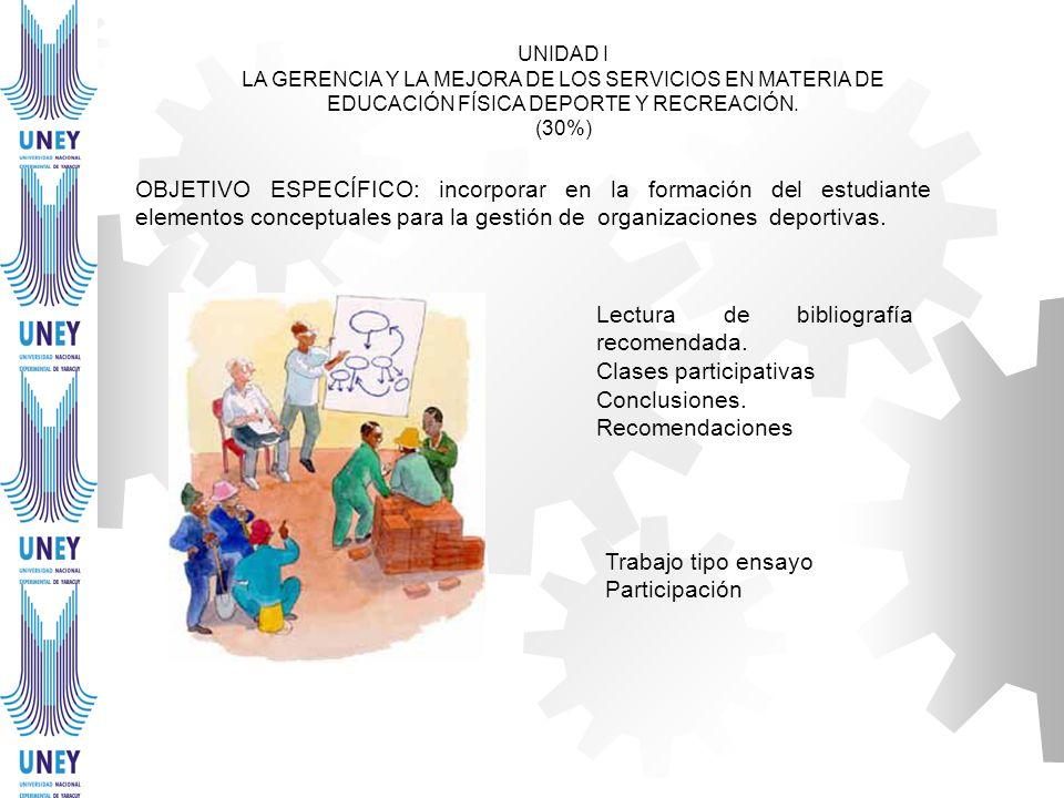 UNIDAD I LA GERENCIA Y LA MEJORA DE LOS SERVICIOS EN MATERIA DE EDUCACIÓN FÍSICA DEPORTE Y RECREACIÓN. (30%) OBJETIVO ESPECÍFICO: incorporar en la for