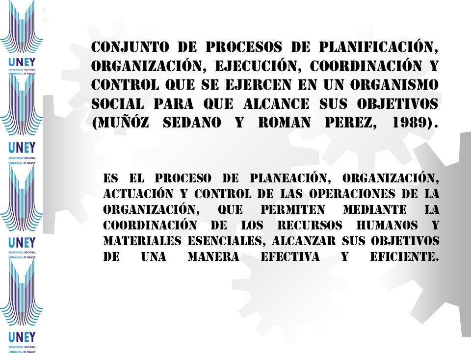 Conjunto de procesos de planificación, organización, ejecución, coordinación y control que se ejercen en un organismo social para que alcance sus obje