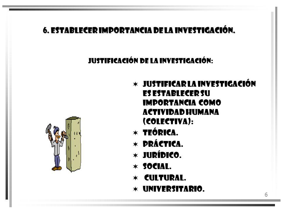 6 6. ESTABLECER IMPORTANCIA DE LA INVESTIGACIÓN. Justificación de la Investigación: Justificar la investigación es establecer su Importancia Como Acti