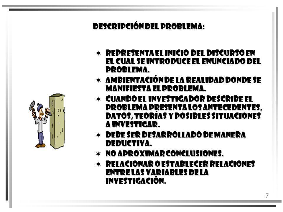 7 DESCRIPCIÓN DEL PROBLEMA: Representa el inicio del discurso en el cual se introduce el enunciado del problema. Representa el inicio del discurso en