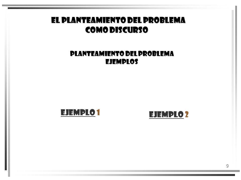 9 PLANTEAMIENTO DEL PROBLEMA EJEMPLOS EjemploEjemplo 1 EjemploEjemplo 2 EL PLANTEAMIENTO DEL PROBLEMA COMO DISCURSO