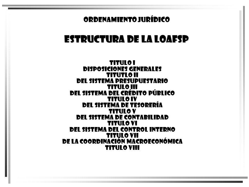 Ordenamiento jurídico ESTRUCTURA DE LA LOAFSP TITULO I Disposiciones Generales TITUTLO II Del Sistema Presupuestario TITULO III Del Sistema del Crédit