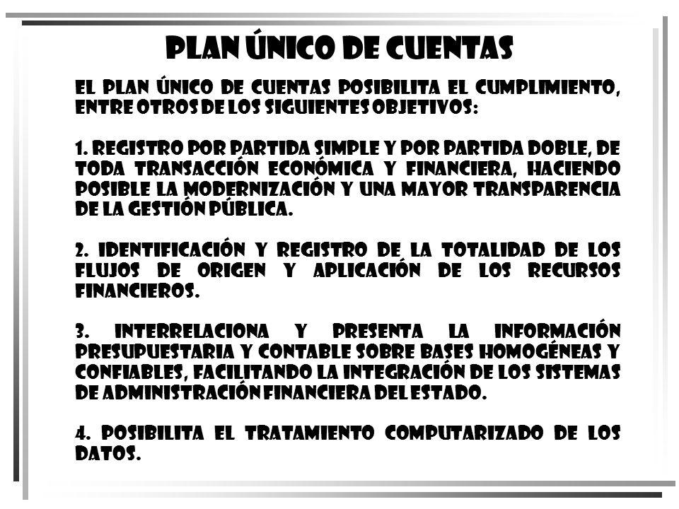 El Plan Único de Cuentas posibilita el cumplimiento, entre otros de los siguientes objetivos: 1. Registro por partida simple y por partida doble, de t