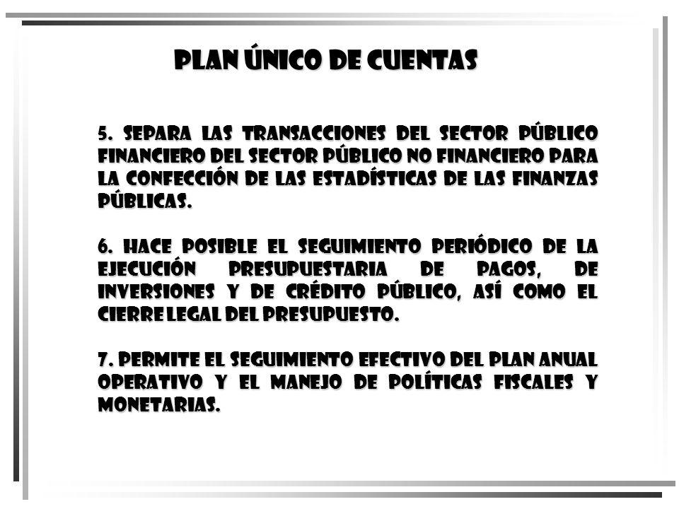 5. Separa las transacciones del Sector Público Financiero del Sector Público no Financiero para la confección de las estadísticas de las finanzas públ