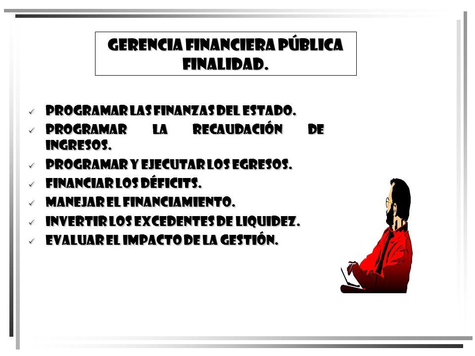 GERENCIA FINanCIERA PÚBLICA FINALIDAD. Programar las finanzas del Estado. Programar las finanzas del Estado. Programar la recaudación de ingresos. Pro