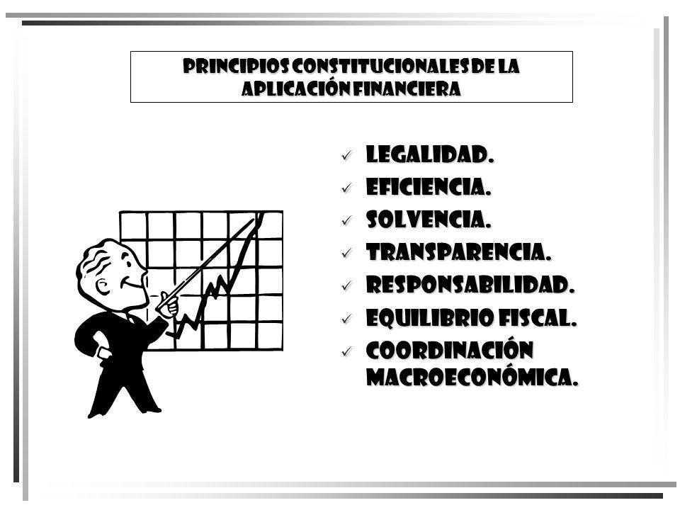 PRINCIPIOS CONSTITUCIONALES DE LA APLICACIÓN FINANCIERA Legalidad. Legalidad. Eficiencia. Eficiencia. Solvencia. Solvencia. Transparencia. Transparenc