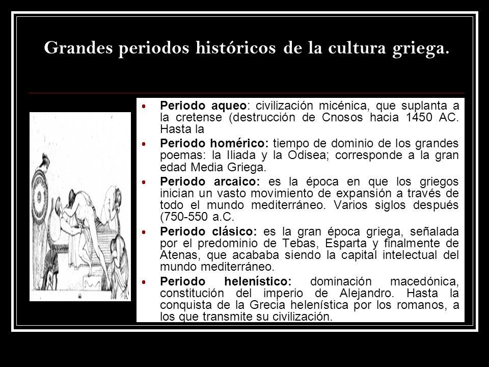 Grandes periodos históricos de la cultura griega. Periodo aqueo: civilización micénica, que suplanta a la cretense (destrucción de Cnosos hacia 1450 A