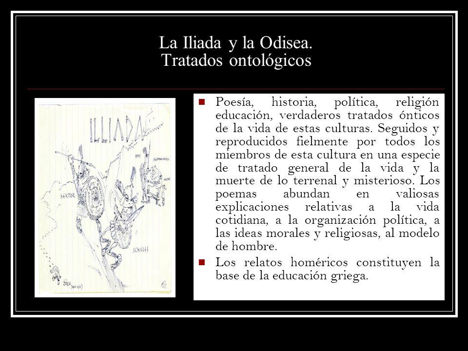 La Iliada y la Odisea. Tratados ontológicos Poesía, historia, política, religión educación, verdaderos tratados ónticos de la vida de estas culturas.