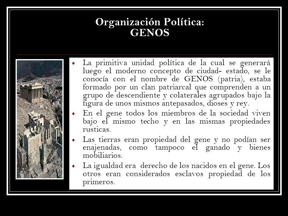 Organización Política: GENOS La primitiva unidad política de la cual se generará luego el moderno concepto de ciudad- estado, se le conocía con el nom
