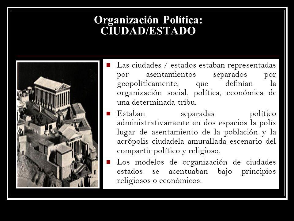 Las ciudades / estados estaban representadas por asentamientos separados por geopolíticamente, que definían la organización social, política, económic