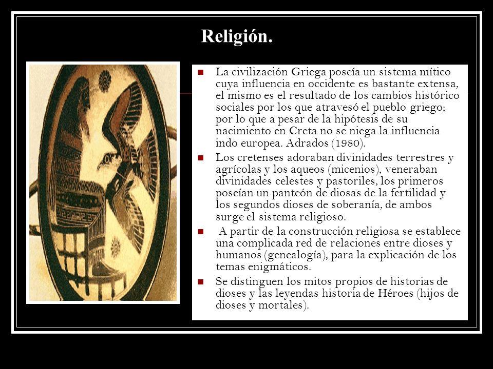 Religión. La civilización Griega poseía un sistema mítico cuya influencia en occidente es bastante extensa, el mismo es el resultado de los cambios hi