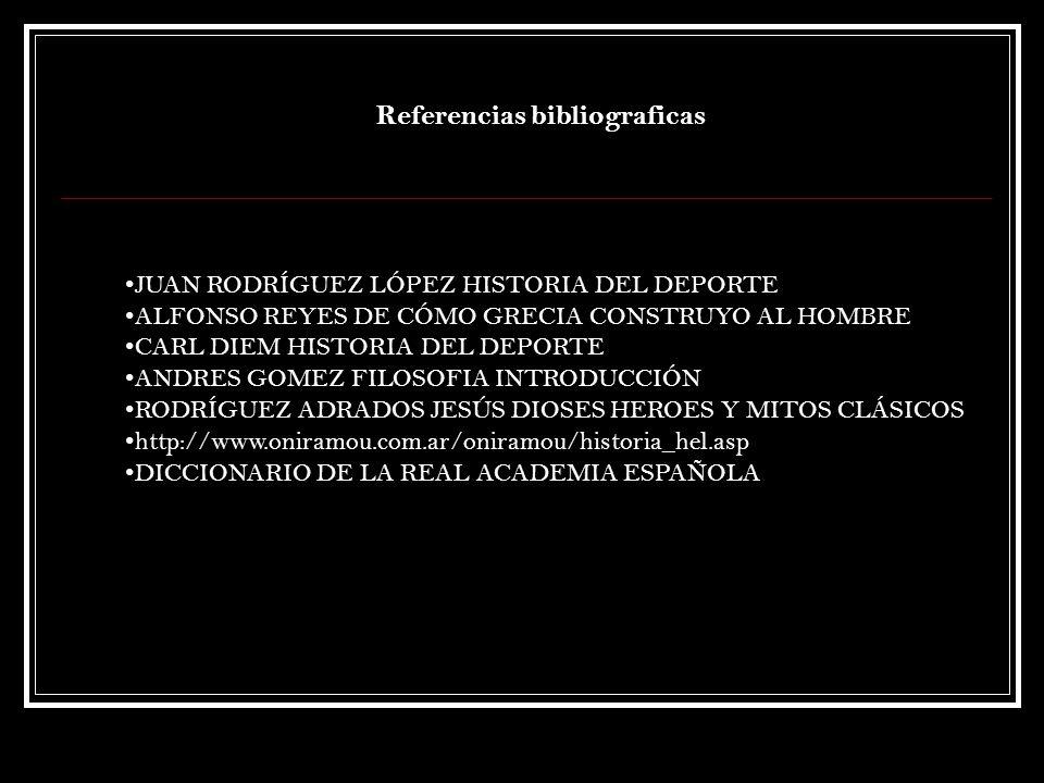 JUAN RODRÍGUEZ LÓPEZ HISTORIA DEL DEPORTE ALFONSO REYES DE CÓMO GRECIA CONSTRUYO AL HOMBRE CARL DIEM HISTORIA DEL DEPORTE ANDRES GOMEZ FILOSOFIA INTRO