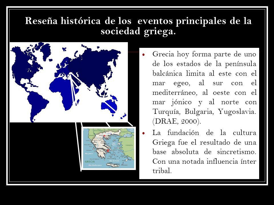 Reseña histórica de los eventos principales de la sociedad griega. Grecia hoy forma parte de uno de los estados de la península balcánica limita al es