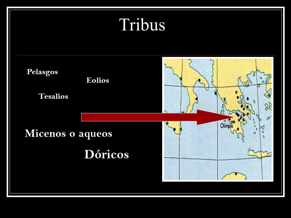 Tribus Pelasgos Dóricos Micenos o aqueos Eolios Tesalios