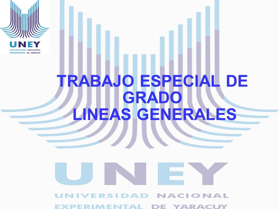 TRABAJO ESPECIAL DE GRADO LINEAS GENERALES